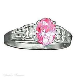 Silver Open Weave Pink Ice Ring Cubic Zirconia Size 9 Jewelry