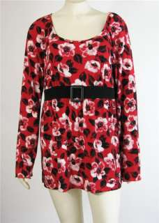 Ann Taylor Loft Belted Long Sleeve Red Top Shirt Size XL New