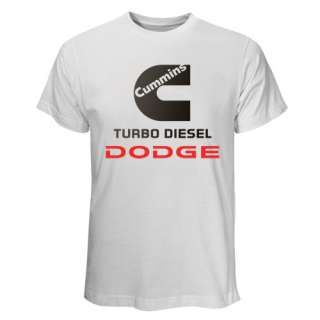 HOT Black & White T Shirt Cummins Turbo Dodge Truck Ram Power