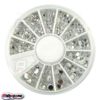 1100 pcs 6 Size Clear Round Glitter Nail Art Rhinestones Wheel