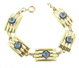 VINTAGE HARRY ISKIN GF GOLD FILLED ART DECO 1940S BLUE RHINESTONE
