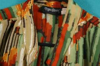 Maggie Barnes Size 1X 14W 16W Green Orange Brown Yellow White Shirt