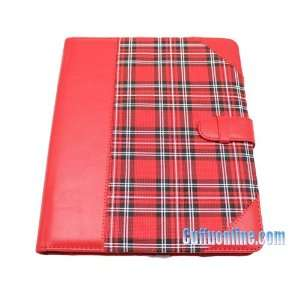 Apple iPad Premium Protective Leather Case Cover Red Check