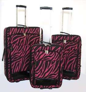 Piece Luggage Set Travel Bag Rolling Wheel Pink Zebra