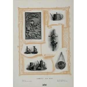 1904 Print Hammered Ironwork Candlestick Art Nouveau   Original Print