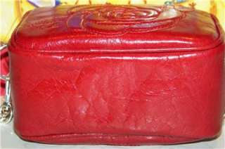 NEW BRIGHTON Red Leather Rose Handbag or Camera Case