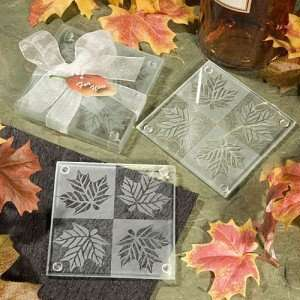 Maple Leaf Frosted Glass Coasters (Set of 2) Kitchen