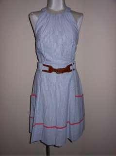 Tags Jessica Simpson Seersucker Casual Belted Halter Dress 12