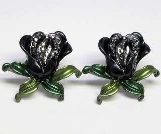 Jet Black color Tulip Flower Crystal Necklace Set s0036
