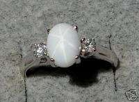 LINDE LINDY WHITE STAR SAPPHIRE CREATED SS RING