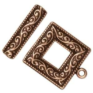 Antiqued Copper Plated Toggle Clasp Square Scroll 21.5mm