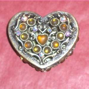 Amber Jewel Encrusted Heart Trinket Box