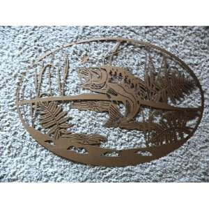 Fish Jumping Oval Scene 23 Home Decor Metal Wall Art