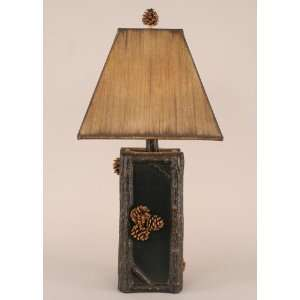 Square Twig Pot Lamp with Pine Cones