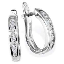 NEW 10 Karat White Gold Diamond Hoop Earrings, Flip Bac