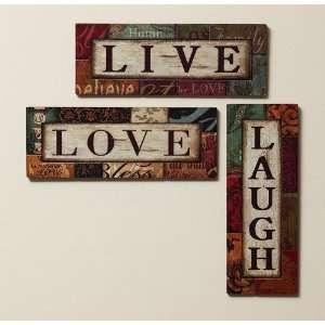 Live, Love, Laugh Wood Wall Decor, 3 Asst
