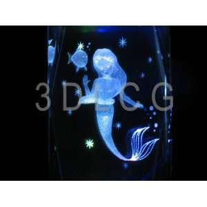 Disney Ariel The Little Mermaid 3D Laser Etched Crystal S1