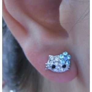 X small Tiny Little Hello Kitty Stud Crystal Earrings with