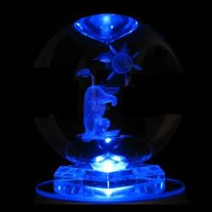 Eeyore Head Stand 3D Laser Etched Crystal Ball includes Two Separate