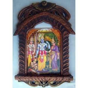 Lord Ram Laxman Sita & Hanuman poster in wood craft