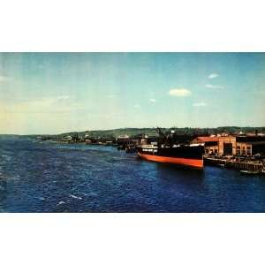 Bath Iron Works Kennebec River Maine Freighter   Original Color Print