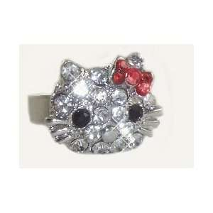 Hello Kitty Ring with Red Crystal Bow   Adjustable Band