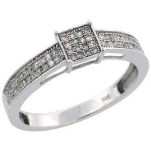 14k White Gold Square Diamond Ring, w/ 0.25 Carat Brilliant Cut