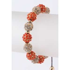Coral And Clear Crystal Bead Bracelet, With Adjustable Knot Jewelry