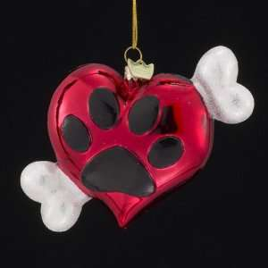 Noble Gems Blown Glass Heart with Paw Print & Bone Christmas Ornaments