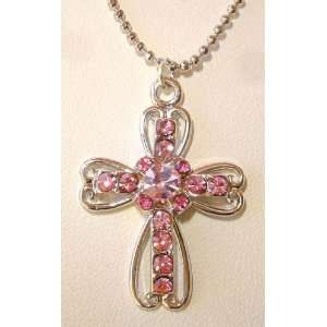 Pink Austrian Crystals Cross Necklace Jewelry