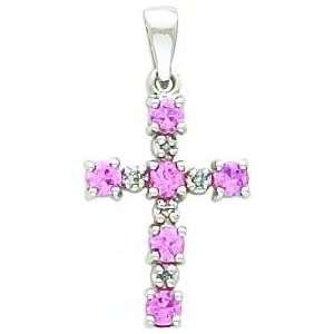 14K White Gold Diamond & Pink Sapphire Cross Pendant Jewelry