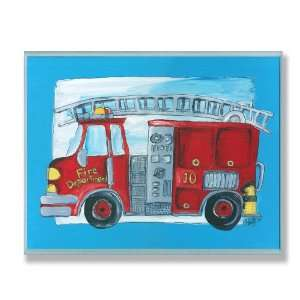 The Kids Room Fire Truck Blue Border Wall Plaque: Baby