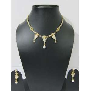 Elegant Rhinestone Bridal Necklace Earrings Gold Finish