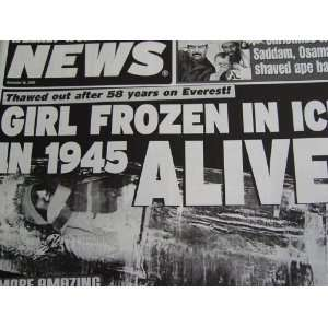 Weekly World News December 16, 2003 (Girls Frozen in Ice in 1945 ALIVE