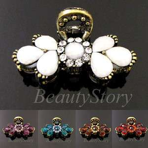 SHIPPING 1p rhinestone crystal Antiqued flower hair claw clip