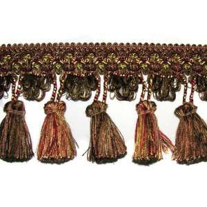 3 1/2 Tassel Fringe Trim Brown/Red By The Yard Arts
