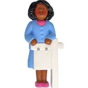 African American Female Realtor Christmas Ornament