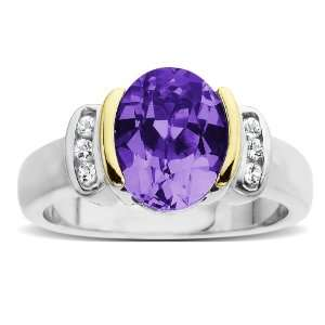 Silver and 14k Yellow Gold White Topaz and Oval Amethyst Ring, Size 8
