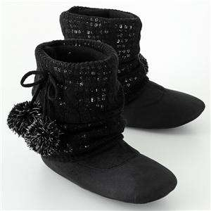 Ladies Black Candies Slouch Slipper Boot Sparkle Knit
