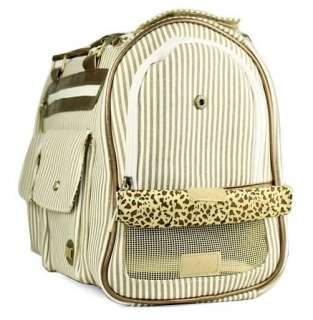 Petcare Pet Dog Cat Tote Bag Carrier Stripe Khaki M