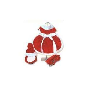 Girl Dog Christmas Dress w/ Matching Hat & Leash   L: Pet Supplies