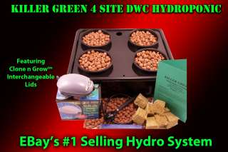 Complete Hydroponic DWC 4 Plant Hydro High Yeild System +Grow Guide
