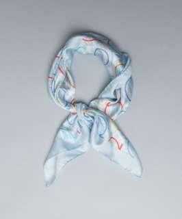Salvatore Ferragamo sky blue gancio and striped circle silk scarf