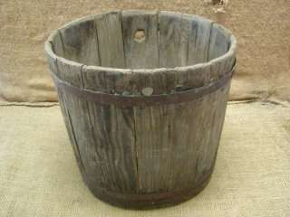 Vintage 1800s Wood & Metal Mop Bucket  Barrel Antique
