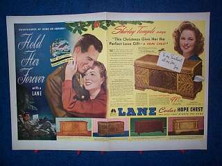 1945 Shirley Temple 2 Pg Ad Lane Cedar Hope Chest