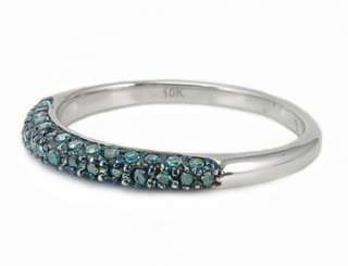 WOW 100% 10K White Gold Blue Diamond Ring Band .25ct