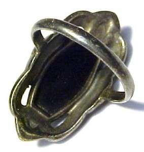 Vintage Black Onyx / Sterling Silver Womens Ring w/ Marcasites by