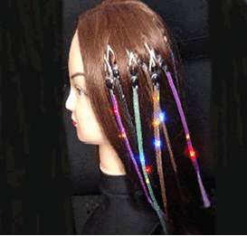 Pink Flashing Hair Braid Blinking LED Light Rave Party