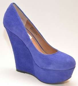 99 STEVE MADDEN Pammyy Blue Suede Platform Wedges Women Shoes 6.5 M