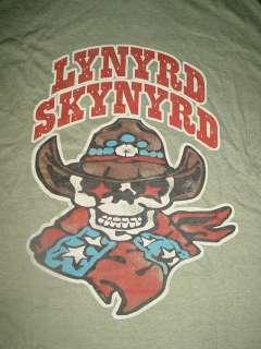 LYNYRD SKYNYRD concert band SKULL COWBOY HAT THIN GREEN SHIRT~L